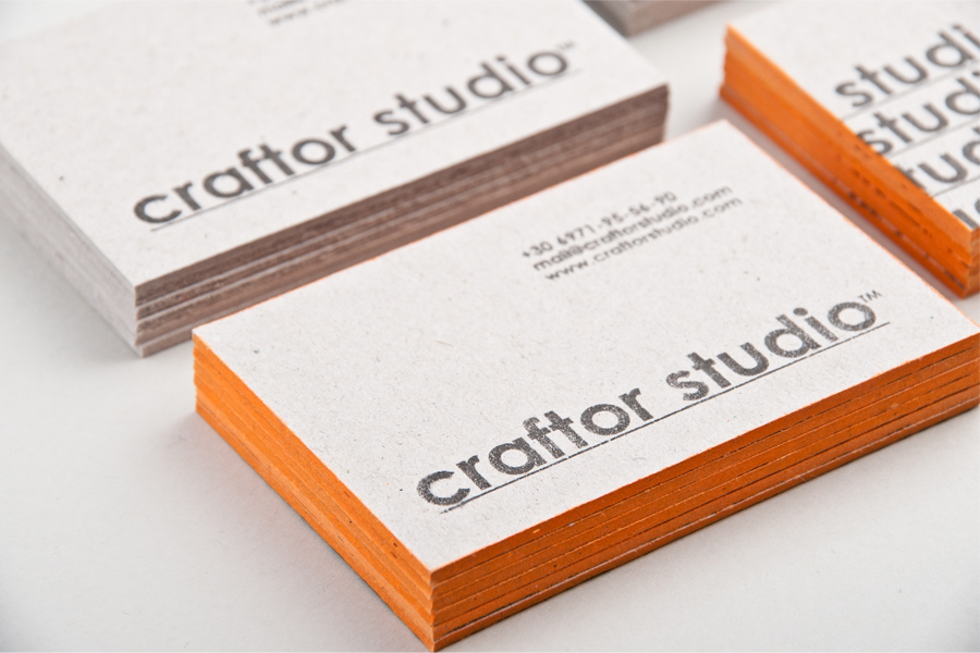 Craftor studio two 2 color handmade business card design printed on 2mm cardboard stock with colored edges promotional material for craftor studio launch featured in colourmoves Choice Image